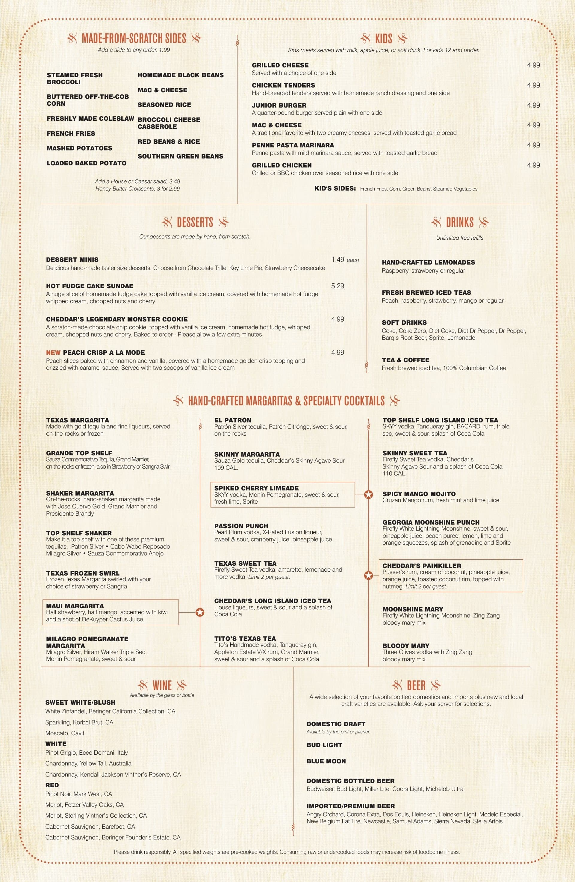 Scratch Kitchen Menu Cheddar's Scratch Kitchen Menu  Urbanspoonzomato