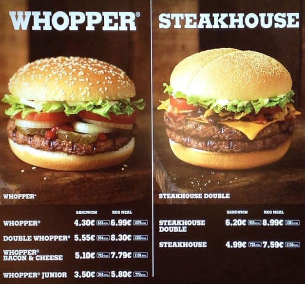 Burger King Menu For Clondalkin Dublin
