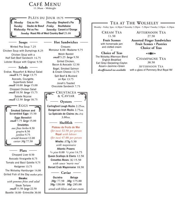 The Wolseley Restaurant London Menu