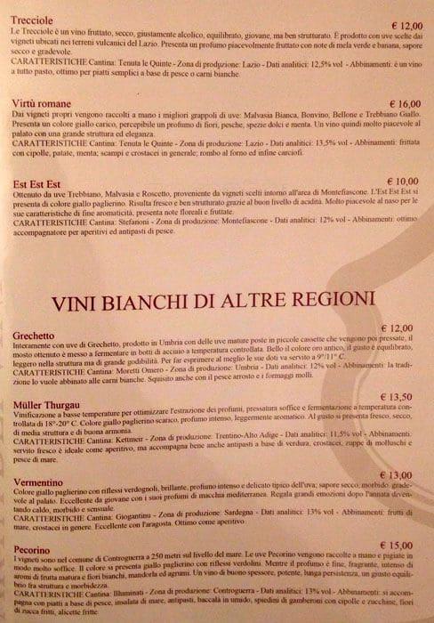 Menu At Calice D Oro Restaurant Rome