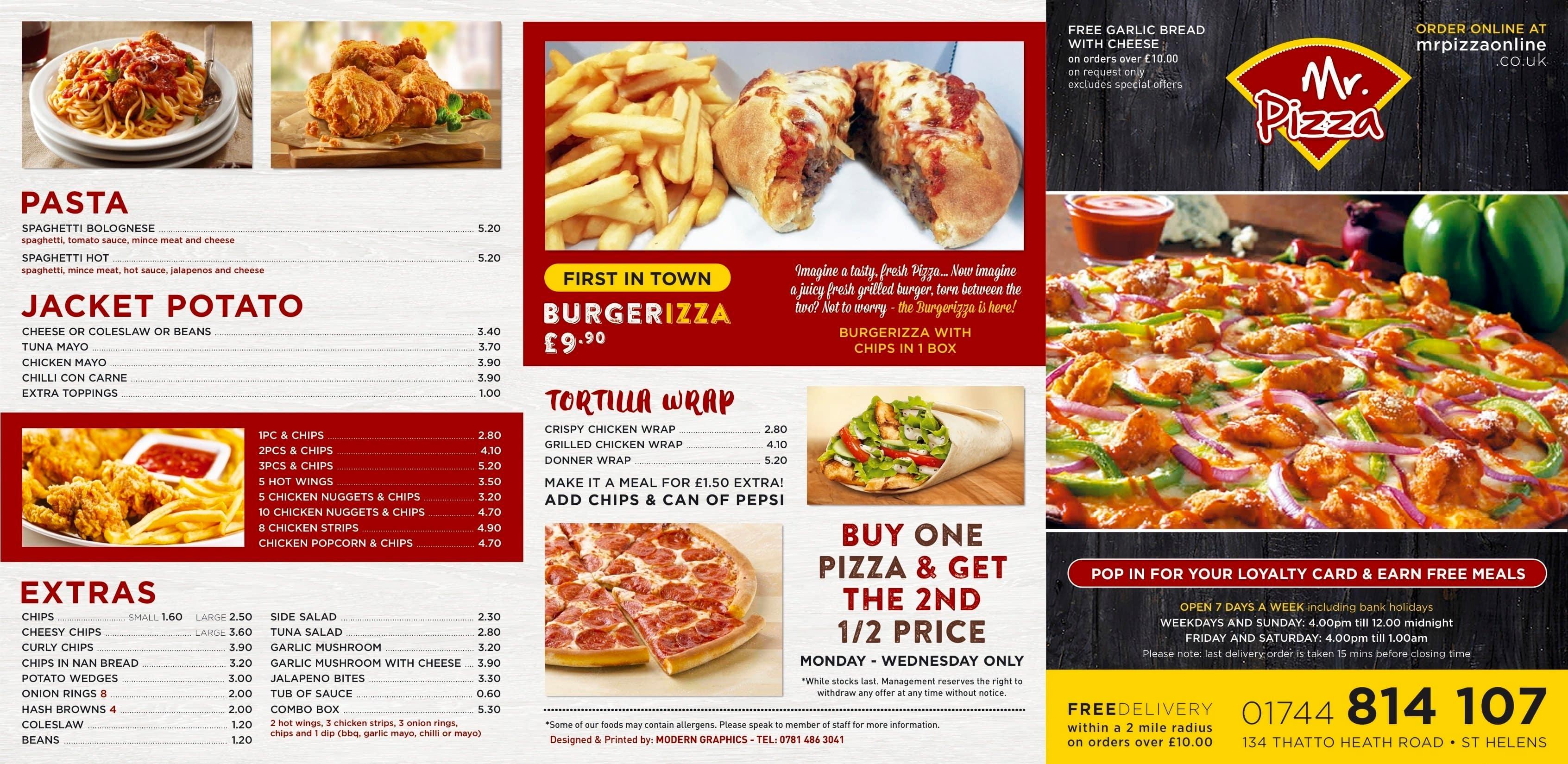 Mr Pizza Menu Menu For Mr Pizza St Helens Liverpool