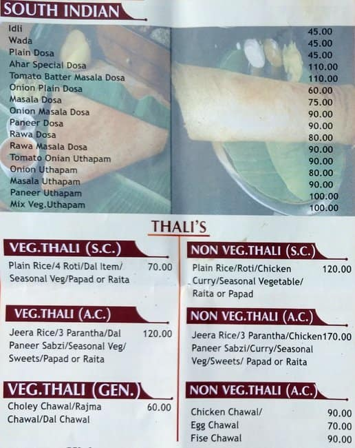 Aahar, DLF Phase 3 Menu