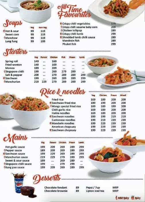 Wangs Kitchen Menu, Menu for Wangs Kitchen, Nagawara, Bangalore - Zomato