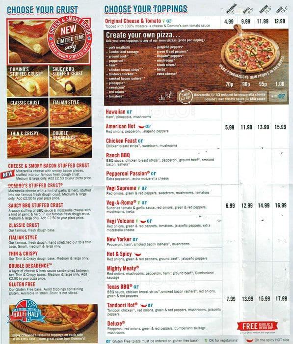 Dominos Pizza Menu Usa >> Domino's Menu, Menu for Domino's, Twickenham, London - Zomato UK