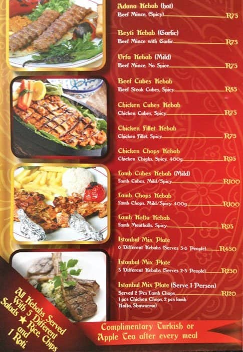 Istanbul Kebab Menu Menu For Istanbul Kebab Fordsburg Inner City