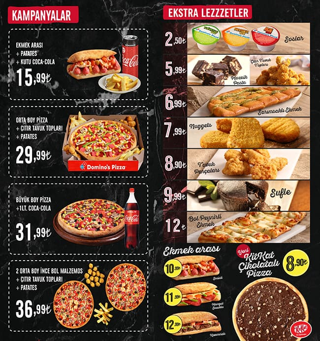 Dominos Pizza Menu Menu For Dominos Pizza Cihangir Istanbul
