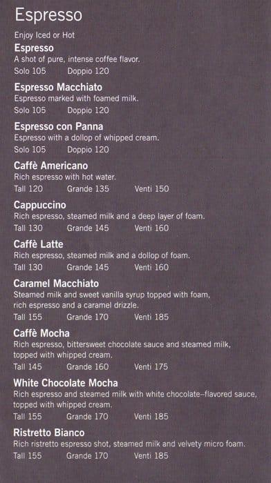 starbucks menu price list