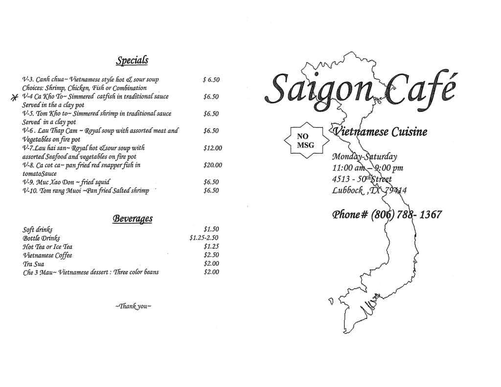 Saigon Cafe Drinks Menu