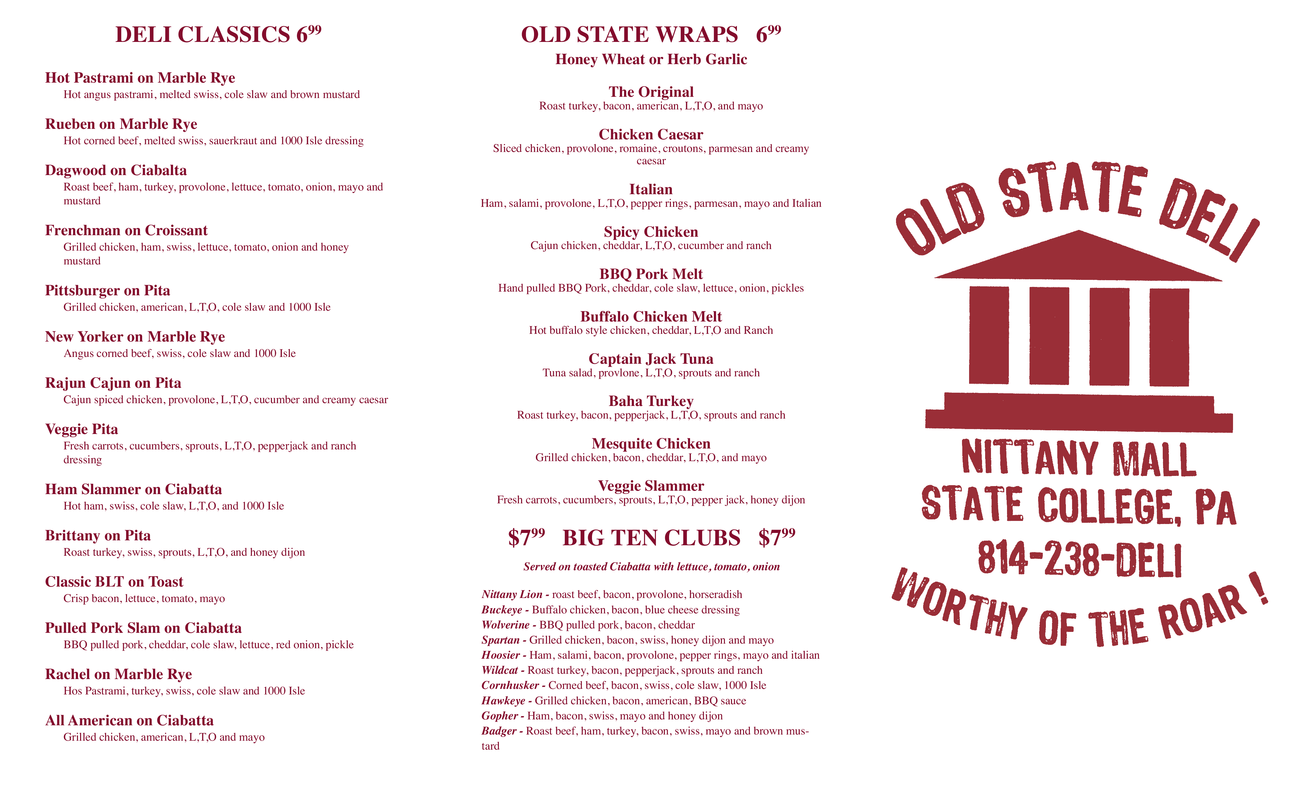 Menu At Old State Deli Restaurant State College