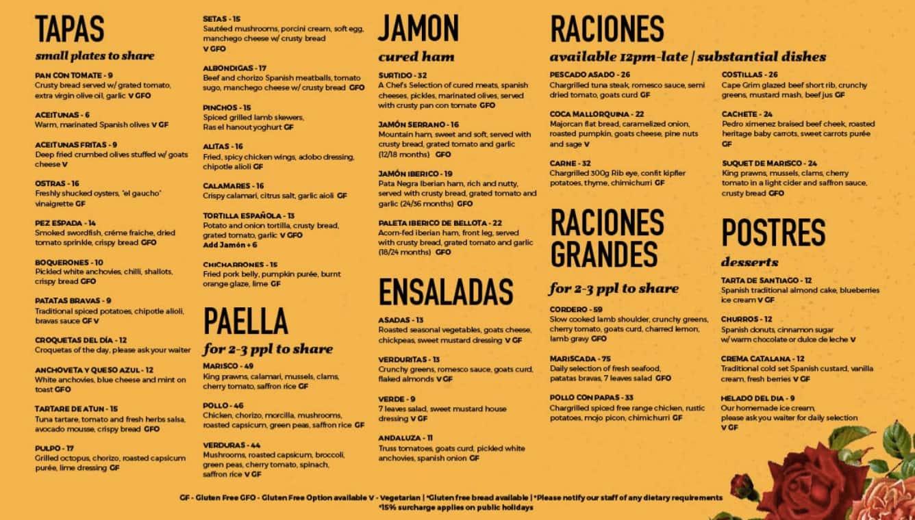 spanish restaurants menu