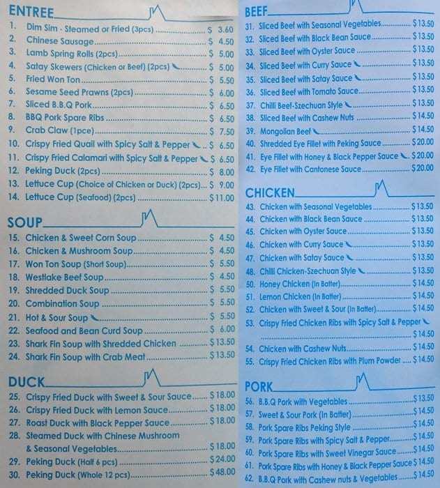 Red House, Scoresby Menu