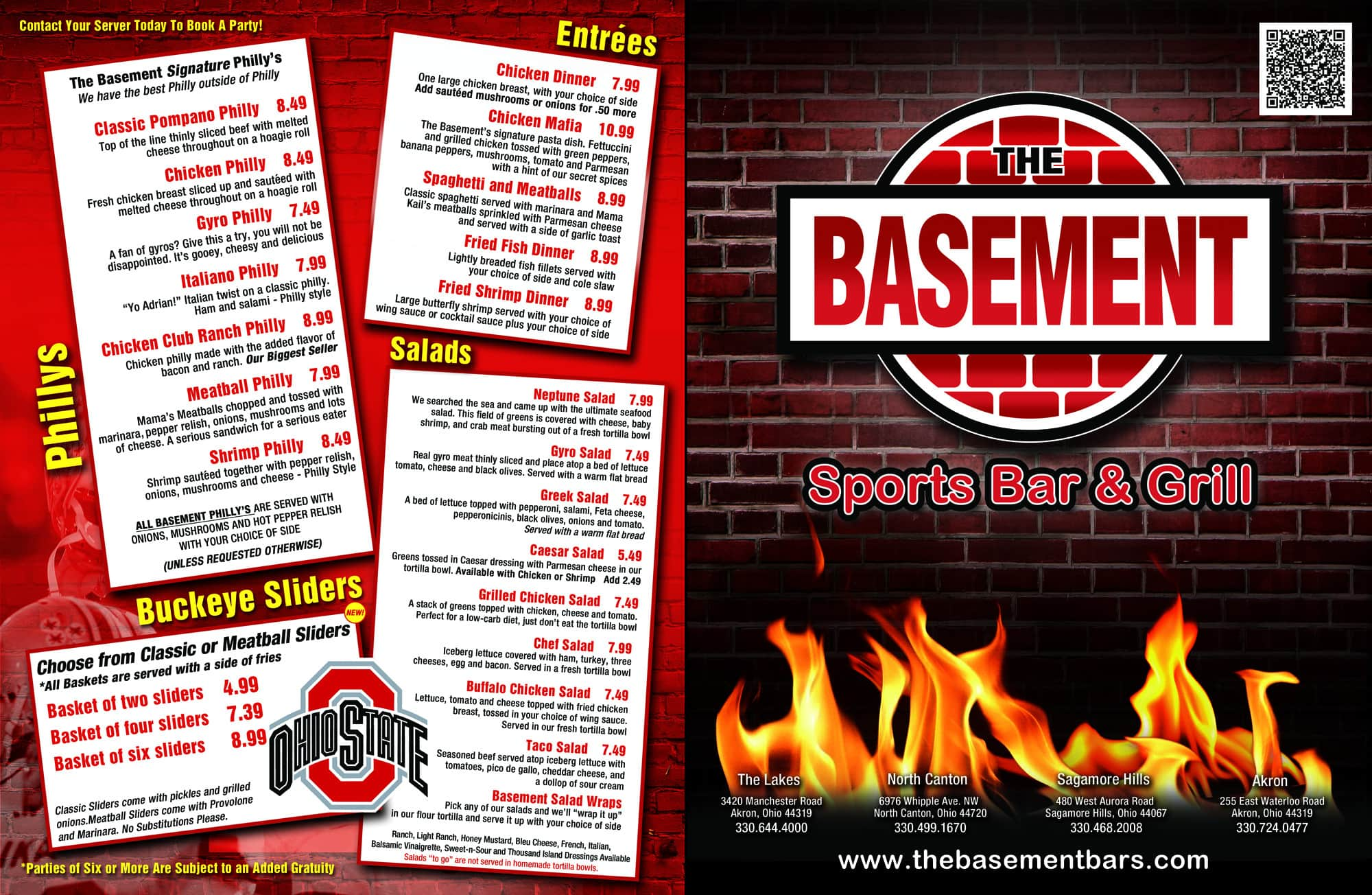 Menu at The Basement 255 E Waterloo Rd Restaurant prices