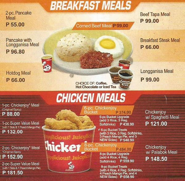 Jollibee Menu, Menu For Jollibee, Diliman, Quezon City