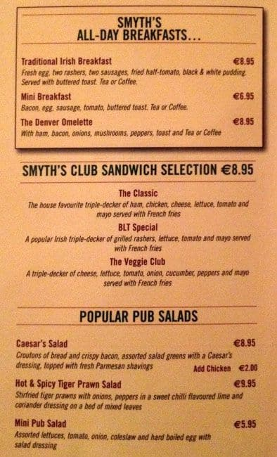 Smyths Of Fairview Menu Menu For Smyths Of Fairview