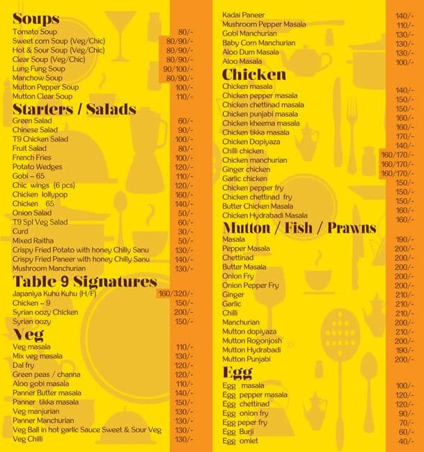 Table Menu Menu For Table Potheri Chennai Zomato - Table 9 menu