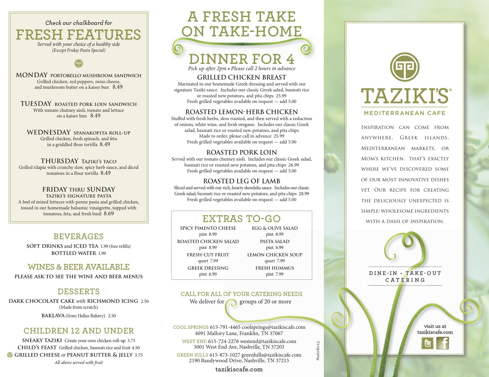 Taziki 39 s mediterranean cafe menu urbanspoon zomato for Mediterranean menu