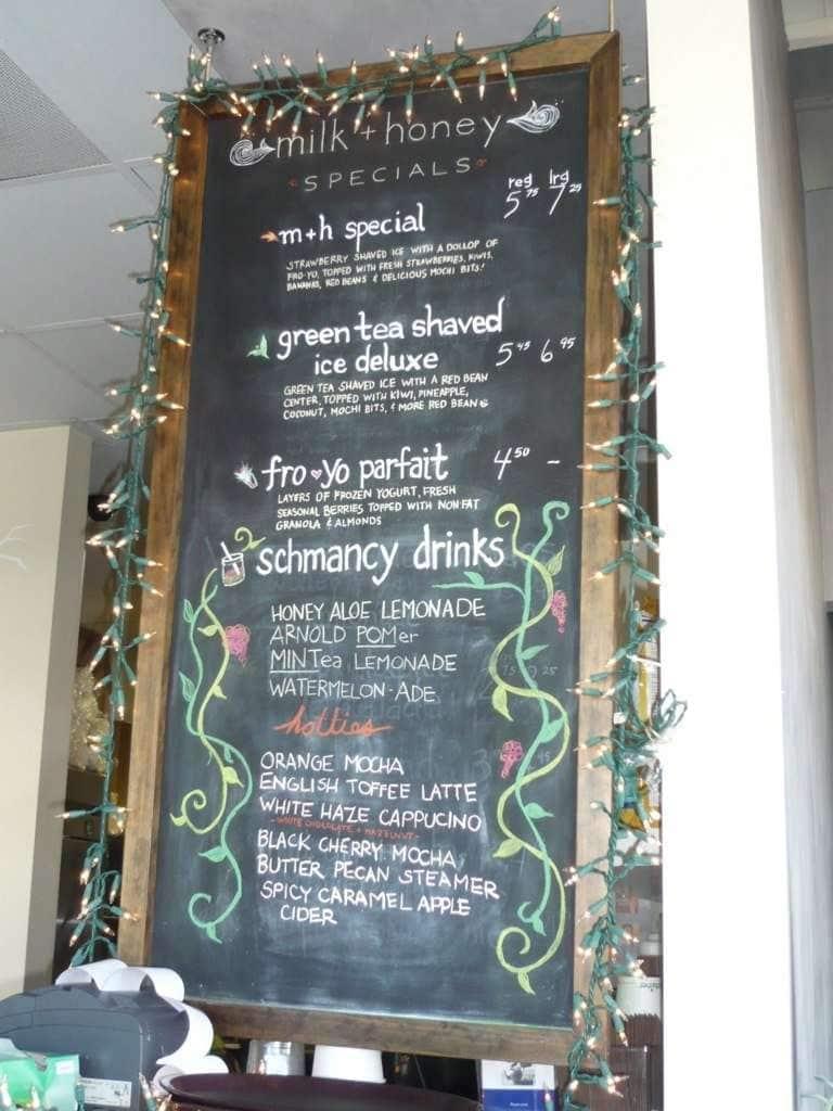 Menu at Milk & Honey cafe, Costa Mesa
