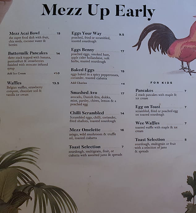 Mezz Kitchen And Bar Chadstone Menu