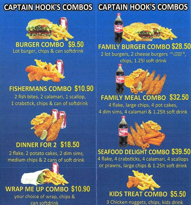 Menu at captain hooks fish chippery restaurant derrimut for Fish and hooks menu