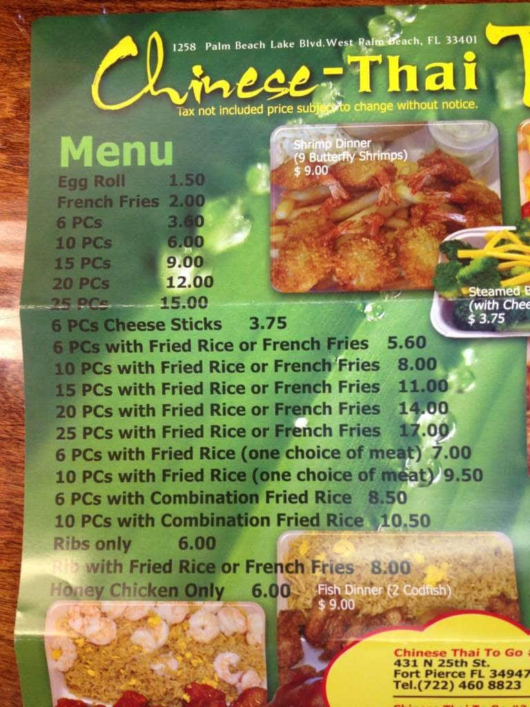 Chinese Thai To Go Menu, Menu for Chinese Thai To Go, West Palm ...