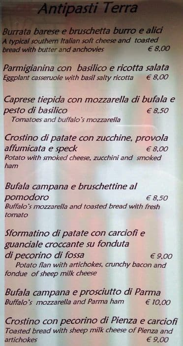 La Scala In Trastevere Menu Menu For La Scala In Trastevere
