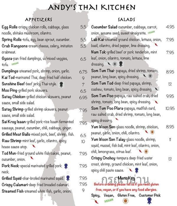 Andy\'s Thai Kitchen Menu, Menu for Andy\'s Thai Kitchen, Lakeview ...