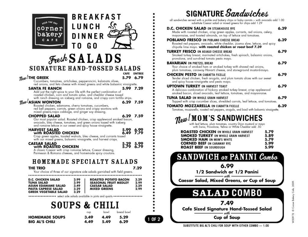 Corner Bakery Cafe Menu Prices