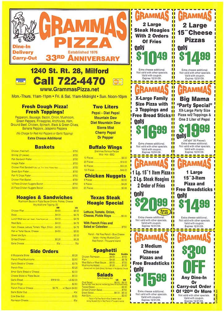 grammas pizza menu coupons