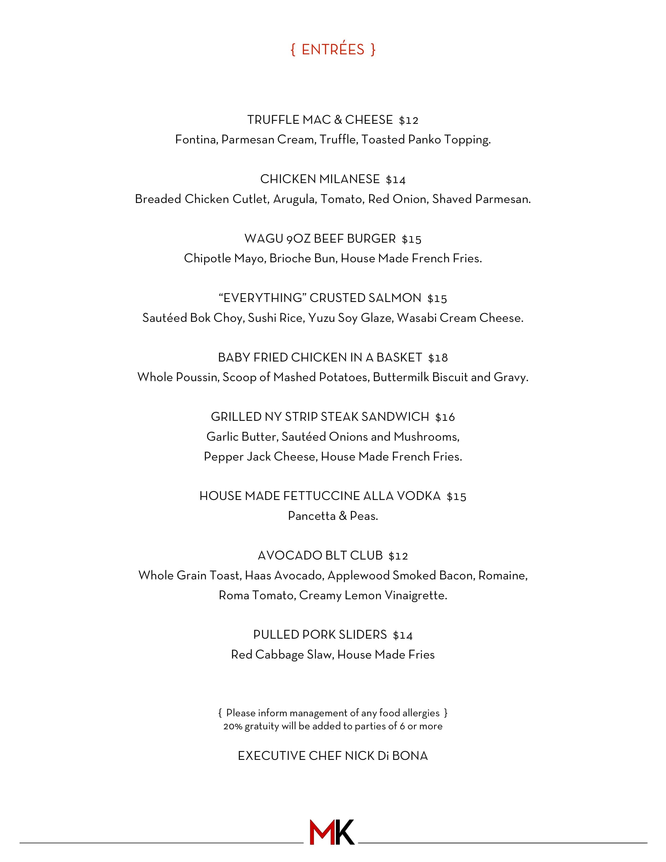 madison kitchen menu, menu for madison kitchen, larchmont