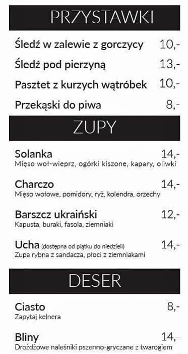 Skamiejka Menu Menu Restauracji Skamiejka Praga Polnoc Warszawa