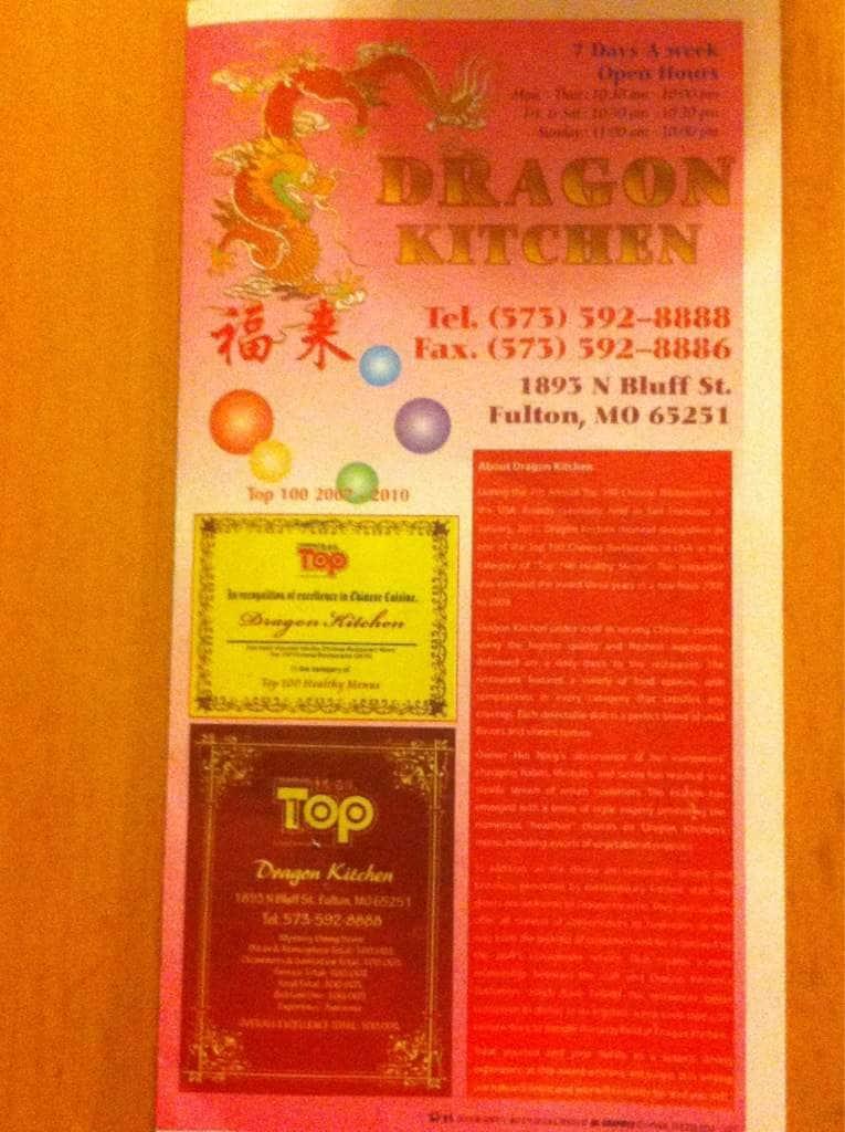 Dragon Kitchen Menu, Menu for Dragon