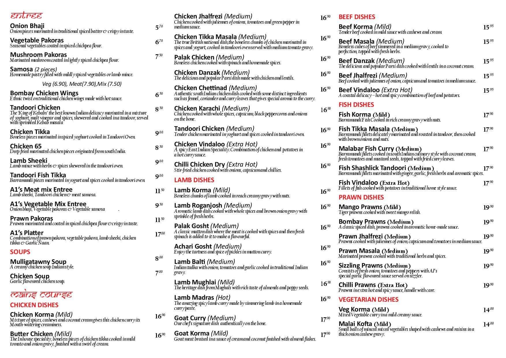A1 Indian Restaurant Menu, Menu for A1 Indian Restaurant