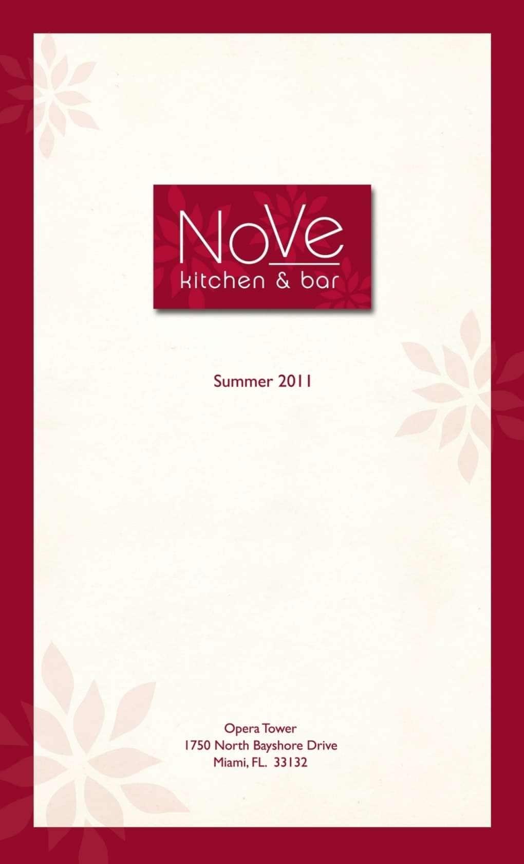 NoVe Kitchen & Bar Menu, Menu for NoVe Kitchen & Bar, Downtown ...