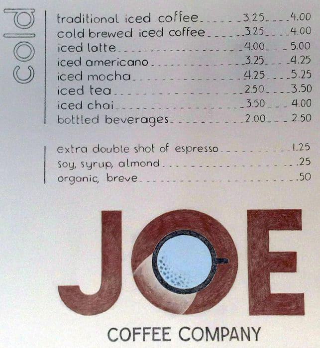 Menu At Joe Coffee Restaurant New York City 37 E 8th St