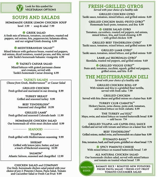 Cafe Mediterranean Menu