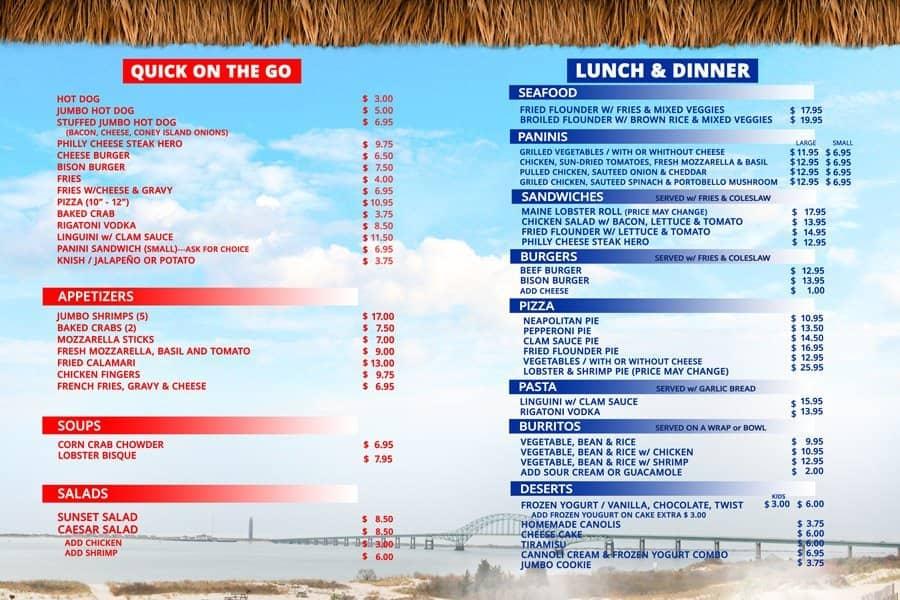 Sunset Restaurant Off The Beach Islip Menu