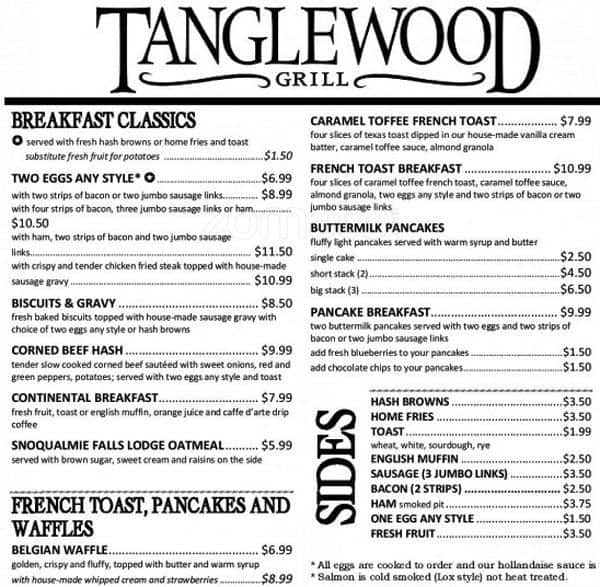 Tanglewood Grill Menu Menu For Tanglewood Grill Gig Harbor Gig