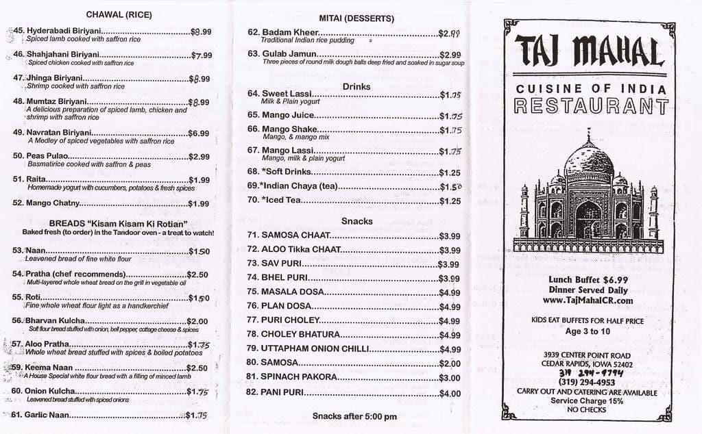 Taj Mahal Cuisine Of India Restaurant Cedar Rapids Menu