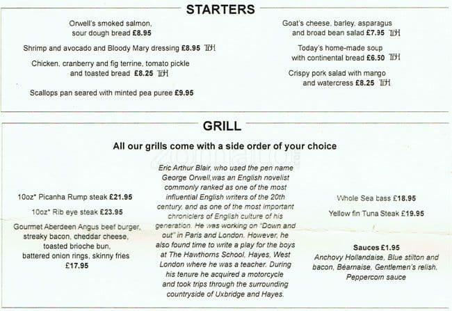Menu At Orwell S Brasserie At Crowne Plaza Hotel Restaurant