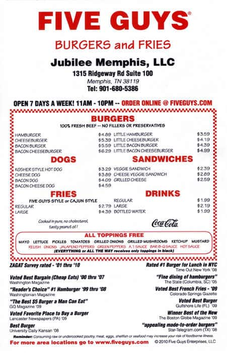 Five Guys Burgers And Fries Locations 117