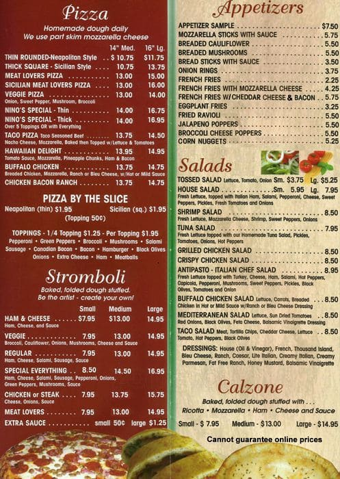 The Restaurant Information Including Nino S Italian Menu Items And Prices May Have Been Modified Since Last Website Update