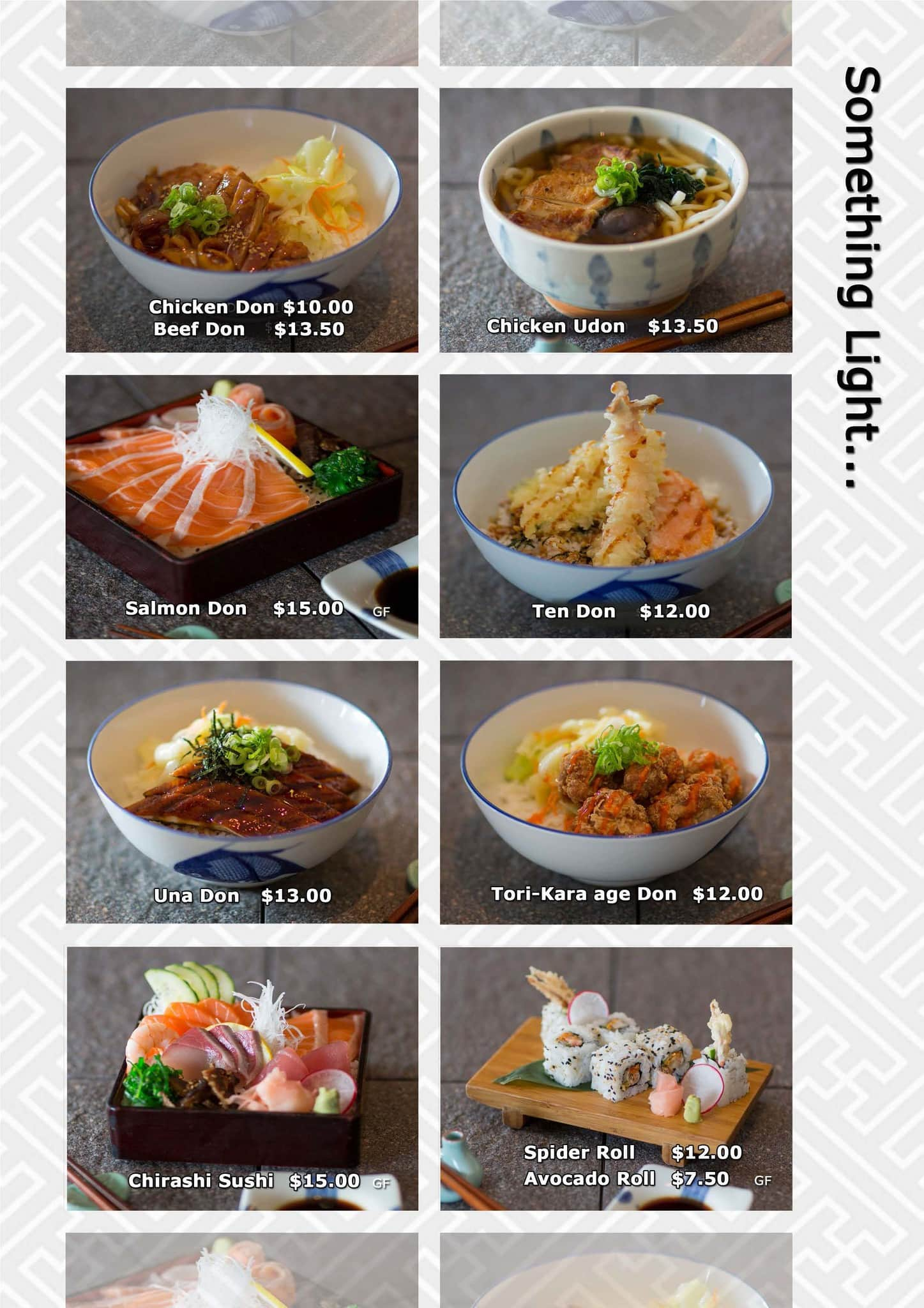 Image gallery japanese food menu for Akina japanese cuisine menu