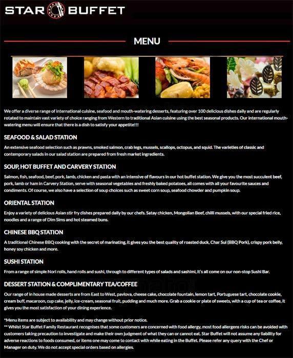star buffet menu menu for star buffet wetherill park sydney rh zomato com the star harvest buffet prices a star buffet price list