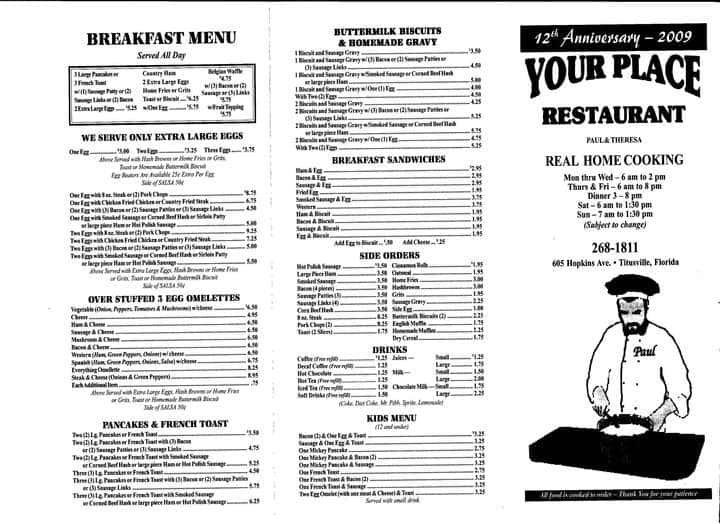 your place menu