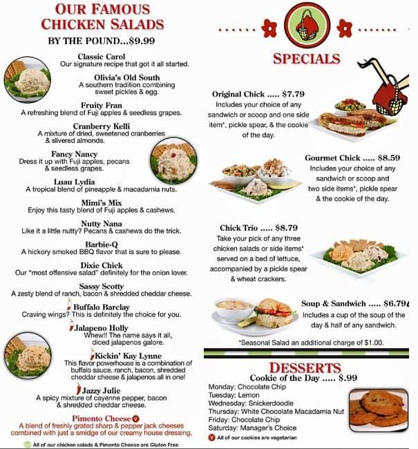 The Charlotte Cafe Menu