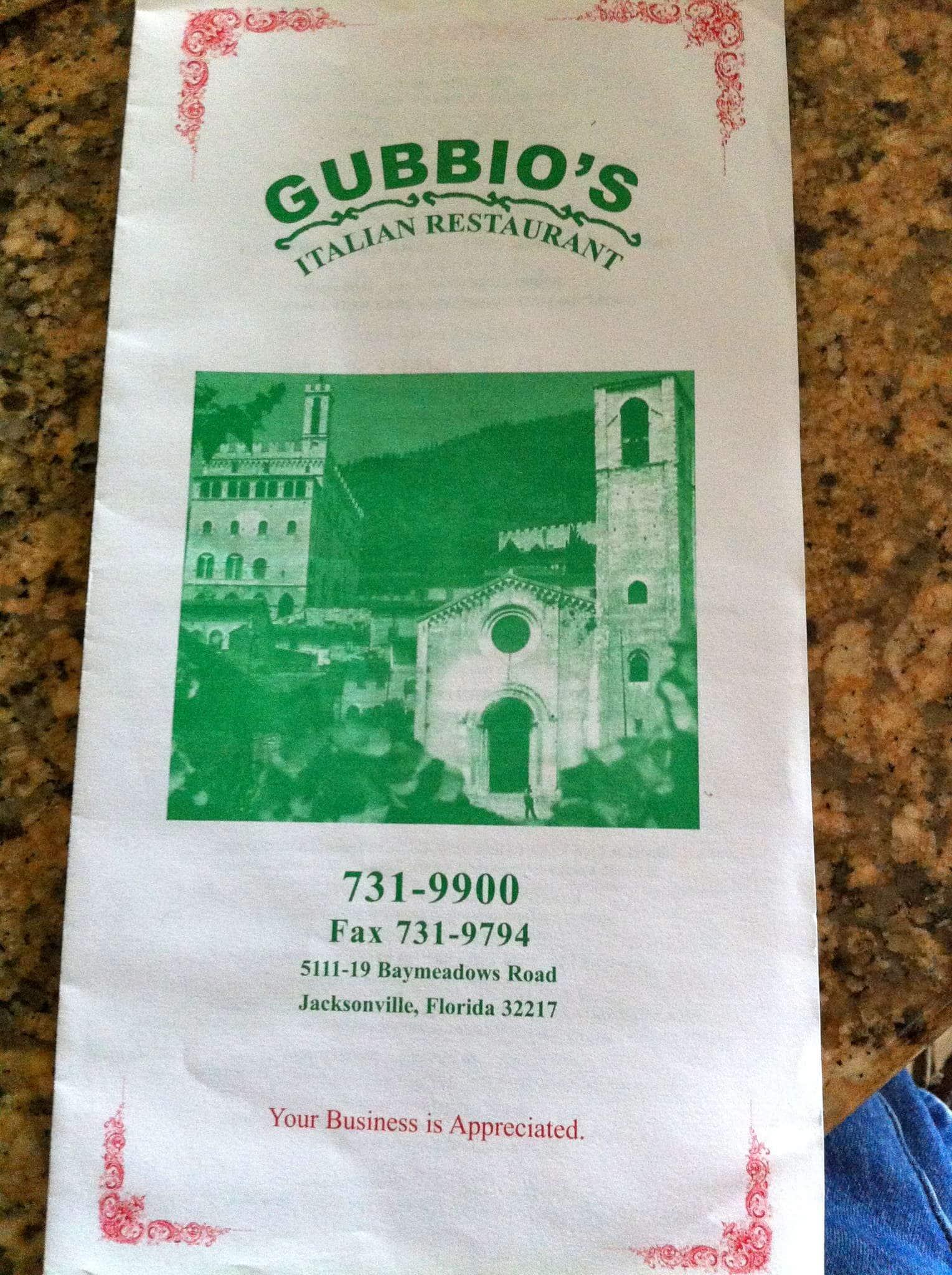 Gubbio S Italian Menu Menu For Gubbio S Italian Southside