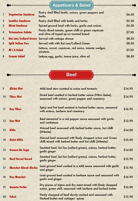 Made in africa ethiopian restaurant menu urbanspoon zomato for African cuisine menu