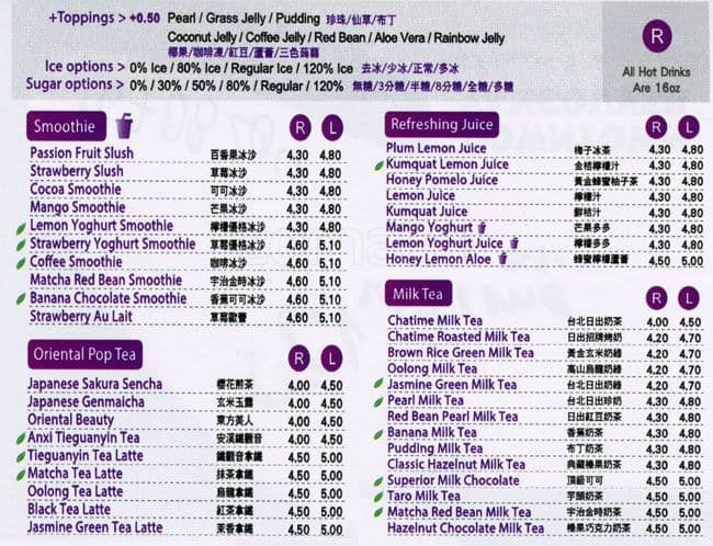 Chatime Menu, Menu for Chatime, Whalley, Surrey - Urbanspoon