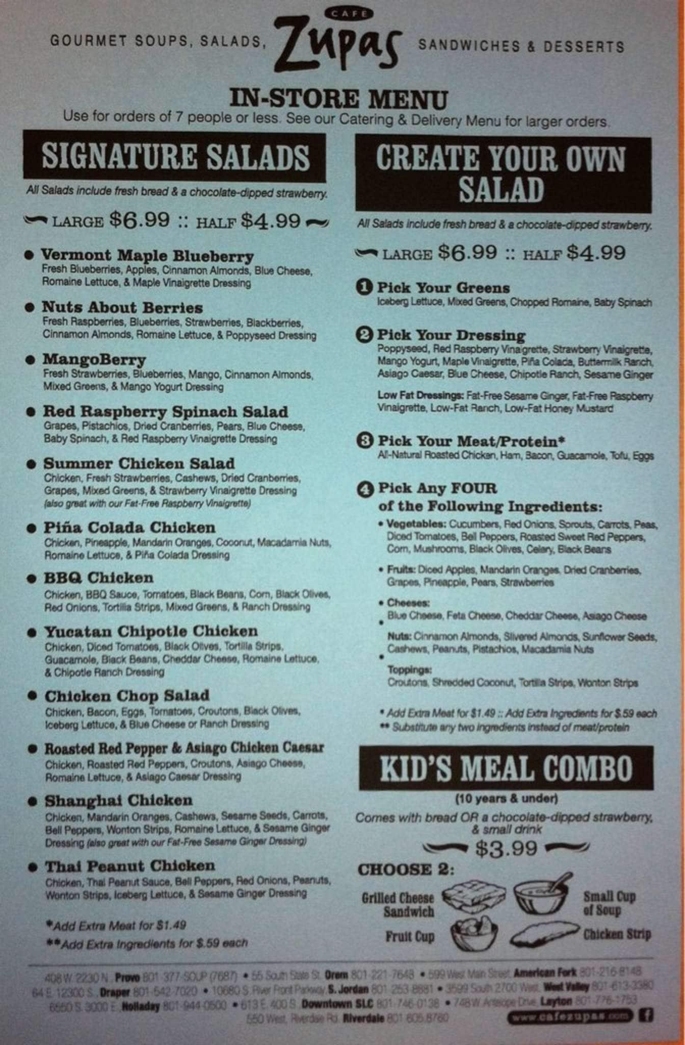cafe zupas menu pdf cafe zupas menu