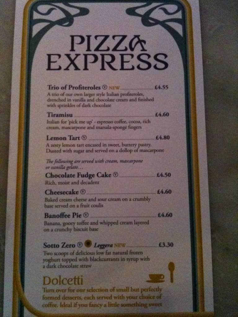 Pizza Express Menu Menu For Pizza Express Southend On Sea